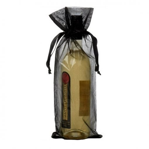 Sachets organza pour bouteille 15x38cm noir