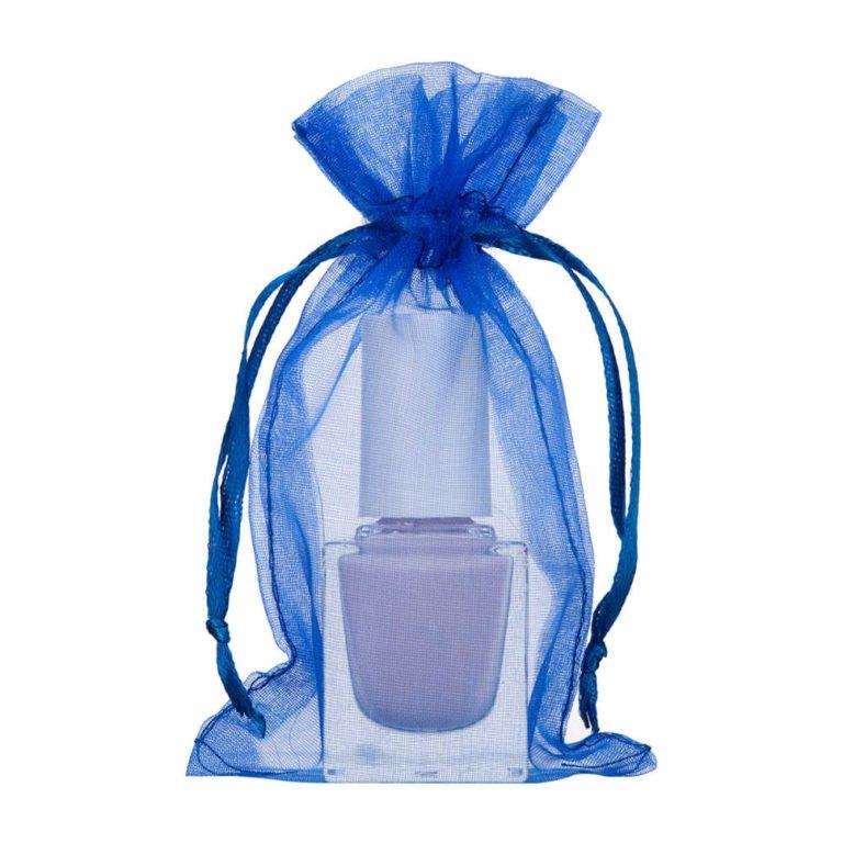 mini sac organza 7x12cm bleu