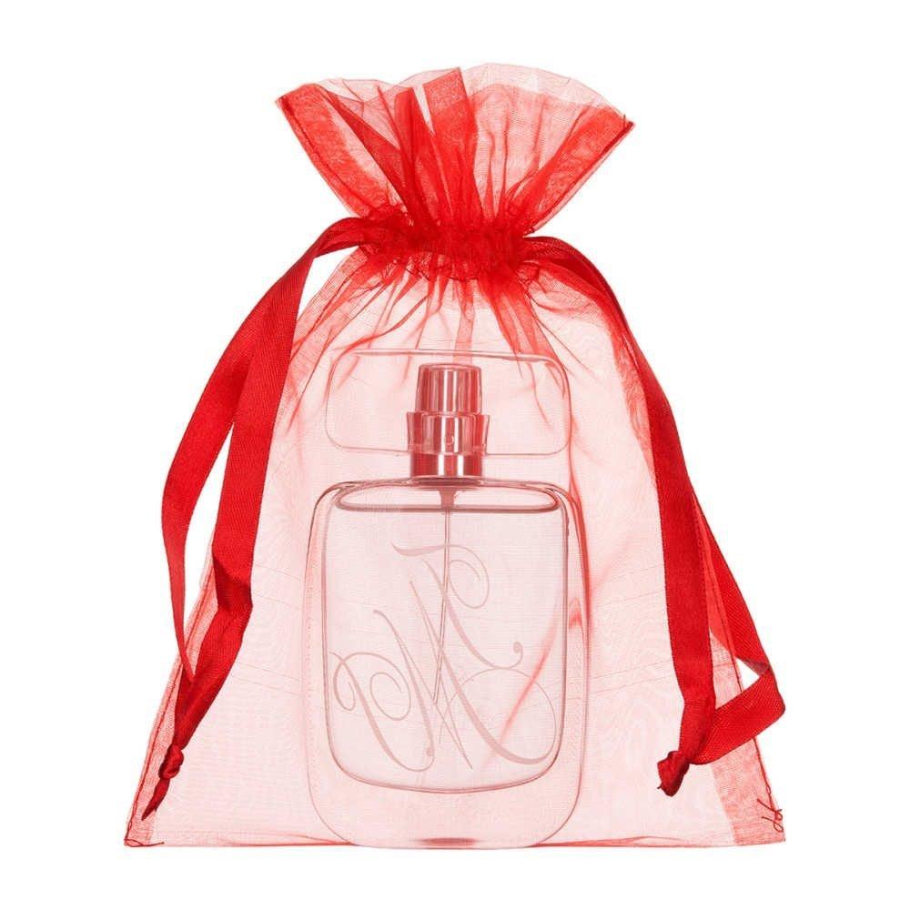 sac en organza 15x20cm rouge
