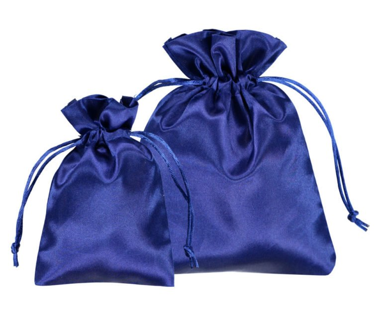 satin pouches blue