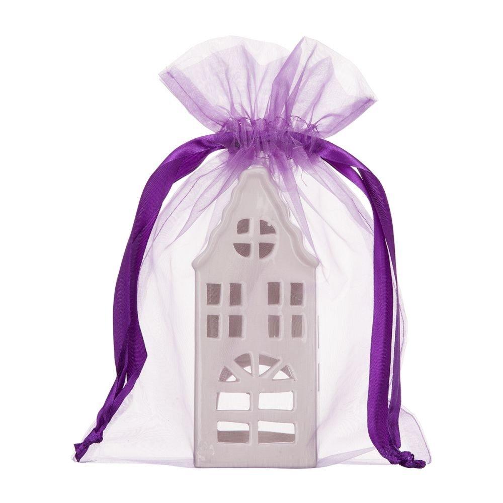 grand sac en organza 20x28cm violet