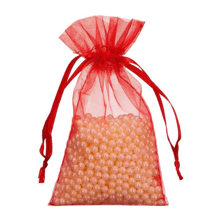 mini sac organza 7x12cm rouge