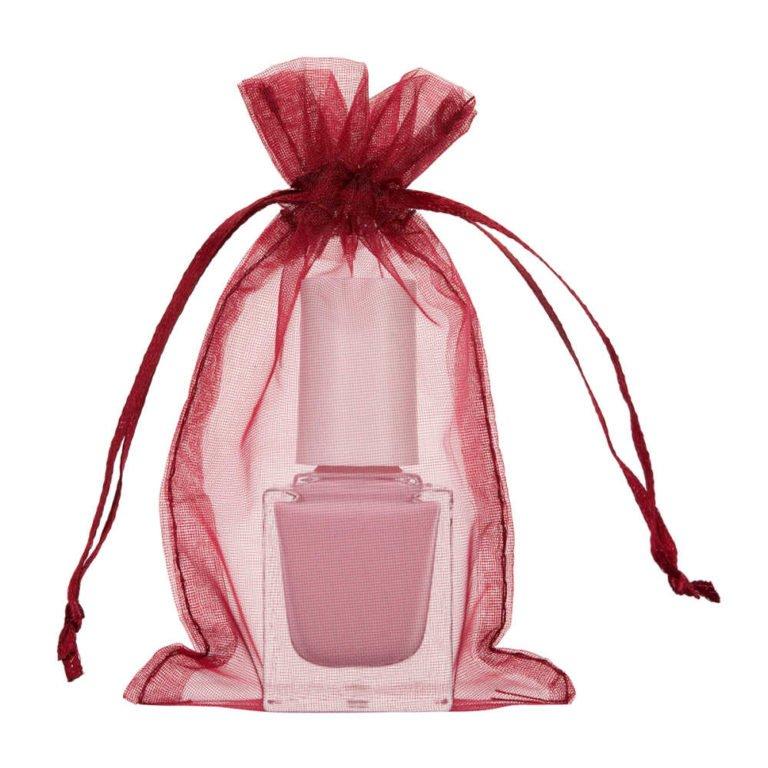 mini sac organza 7x12cm vin bordeaux rouge burgundy