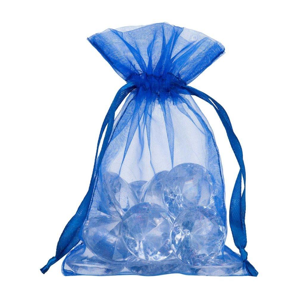 petit sac en organza 10x15cm bleu