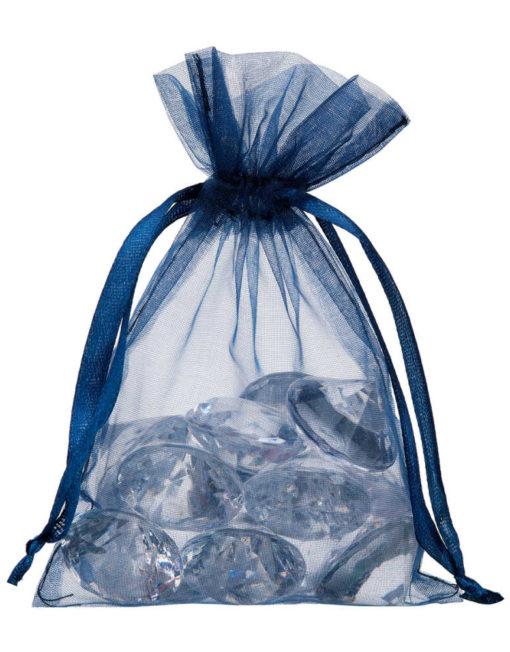 petit sac en organza bleu marine 10x15cm