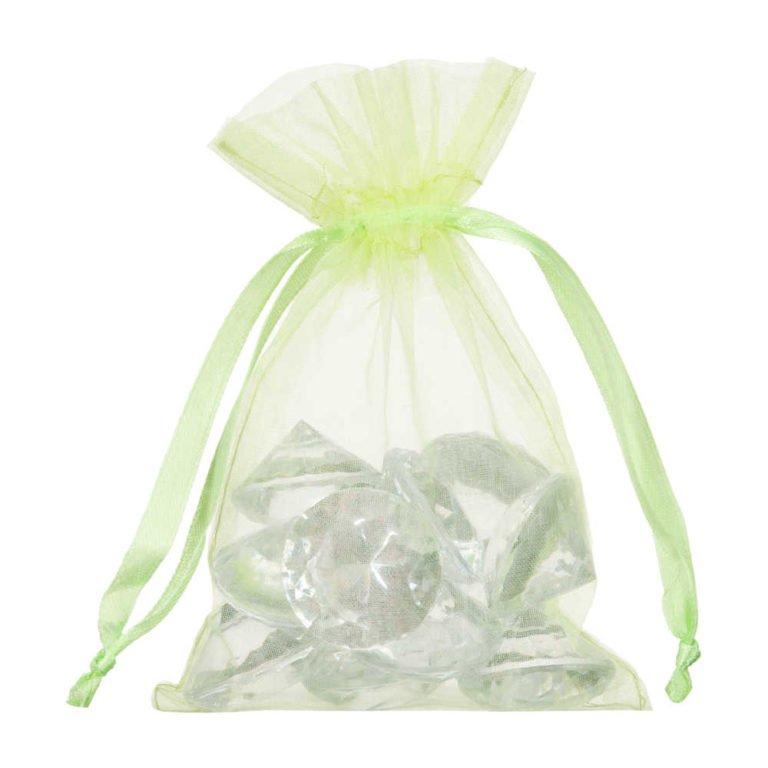 petit sac en organza vert lime 10x15cm