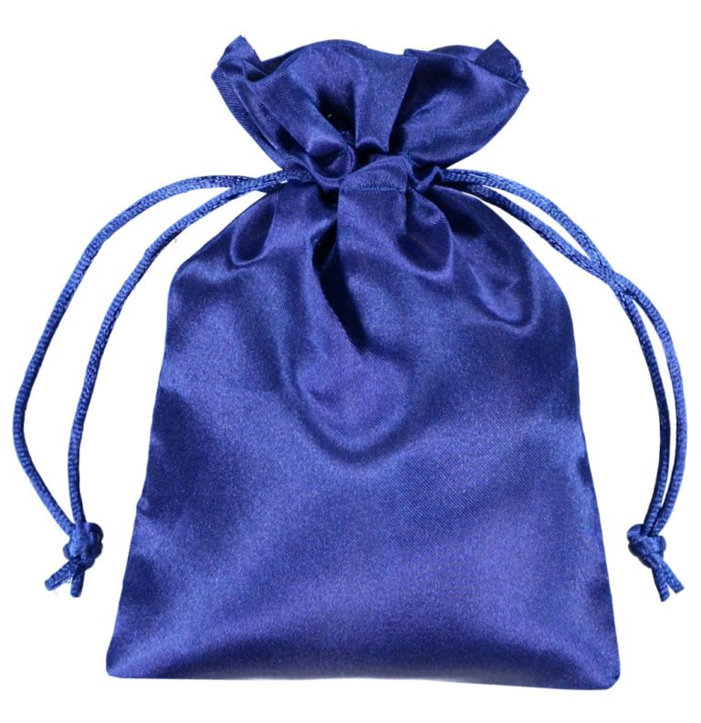 satin pouches 10x15cm blue