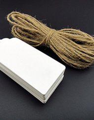 100 pièces Kraft Labels Blanc 5x10cm avec corde de 30 mètres