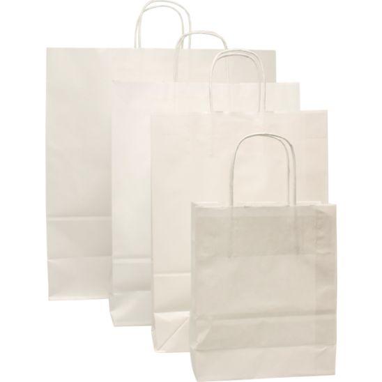 100 pièces Sac de Transport en Papier Blanc, Cordon Torsadé (2)