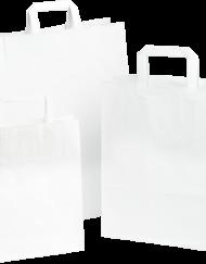 250 pièces Sac en Papier Poignée Plates, Blanc, choisissez votre taille