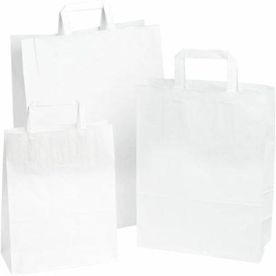 250 pièces Sac en Papier Poignée Plates, Blanc choisissez votre taille