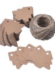 50 pièces Étiquettes de Sapin de Noël, 5,5x5,4cm avec corde de jute (4)