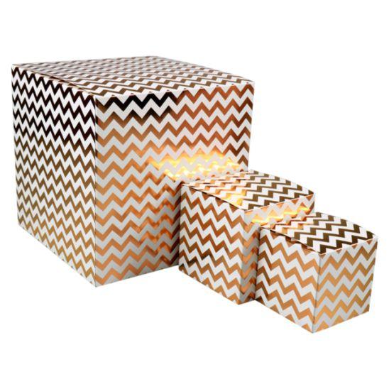 50 pièces Boîtes Cadeau Chevron différentes tailles