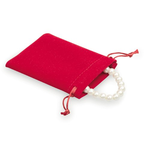 100 pcs Sac en Look Velours 8x10cm rouge