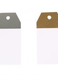 50 stuks Kraft Etiquettes Blanc en Argent et Or 4,5x9cm