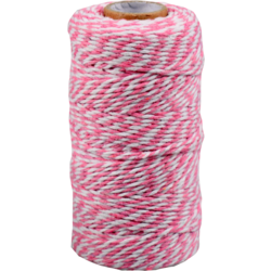 Cordon Coton différentes couleurs rose-blanc 1,5mm x 100m