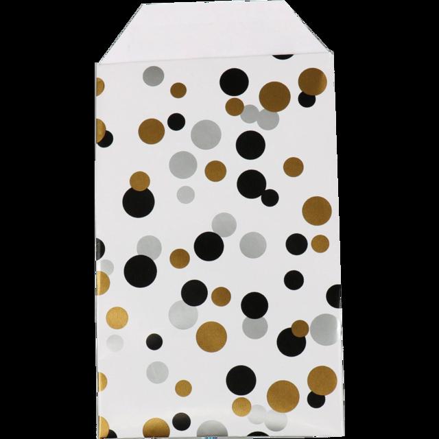150 pièces Sacs en Papier à Pois Noir Or et Argent