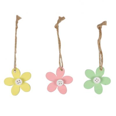 24 Pièces d'Étiquette Cadeau Fleur En Bois Avec Corde 5x5cm Choisissez Votre Couleur